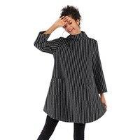 New women's double pocket striped jacket female loose large size long sleeved sweater long sleeved turtleneck sweater dress
