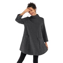 New women's double pocket striped jacket female loose large size long-sleeved sweater long-sleeved turtleneck sweater dress fuzzy double pocket loose dress