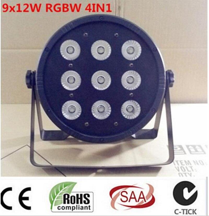 8 шт. 9x12 Вт RGBW + кейс + 1 м dmxcables 4IN1 LED PAR 54 DJ номинальной привело RGBW мыть свет диско DMX контроллер Бесплатная доставка