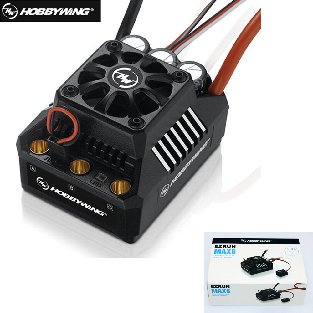 1set Original Hobbywing EzRun Max6 V3 160A Speed Controller Waterproof Brushless ESC XT60 T Plug for 1/6 RC Car+Retail box sensorless 35a brushless esc electric speed controller for rc car racing set ft