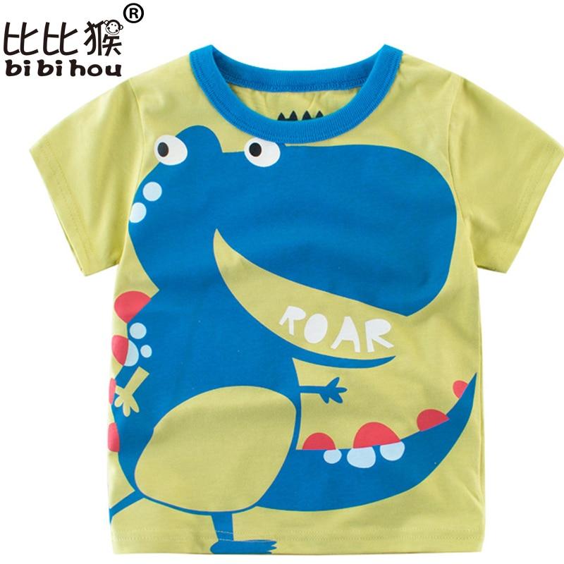 Cartoon Dinosaur T Shirt Boys 2018 Summer Children's Clothing Toddler 100% cotton Tops tee baby Boy Kids bobo bebe T-shirt 2-8Y