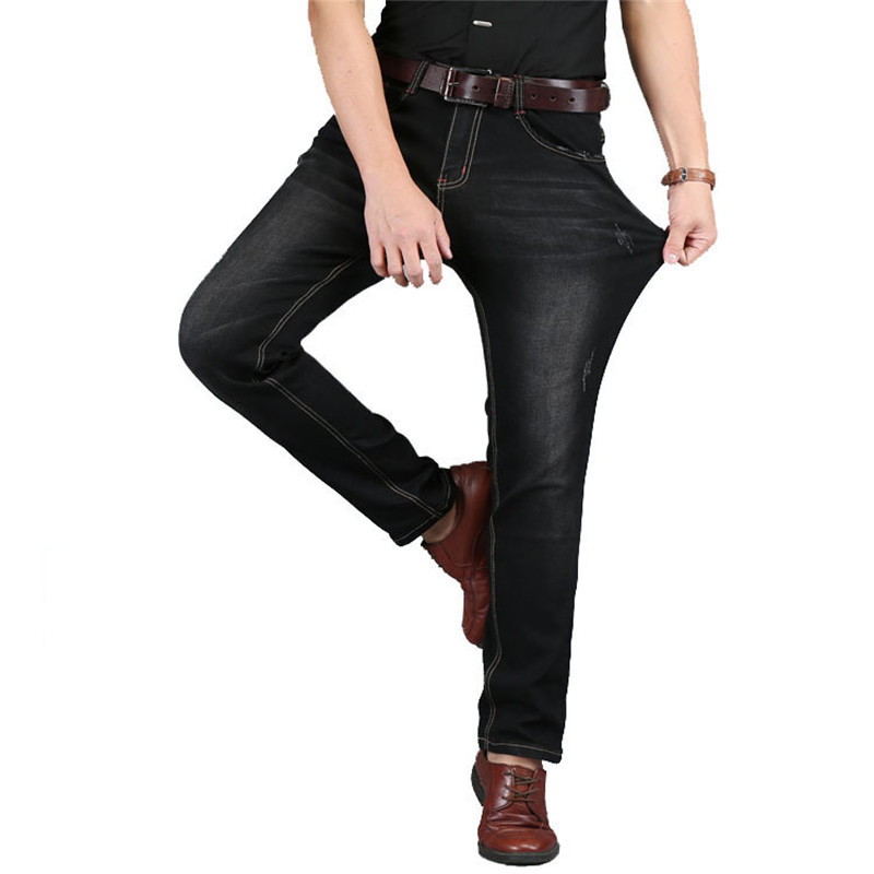 Size 28-48 2017 New Spring Summer Straight Denim Loose Large Size Men Jeans High Stretch Fashion Fat Guy Jeans Cowboy