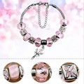 DIY Handmade Women pink Color Snake Chain Crystal Bracelets Bangles Jewelry  Metal Beads Charms