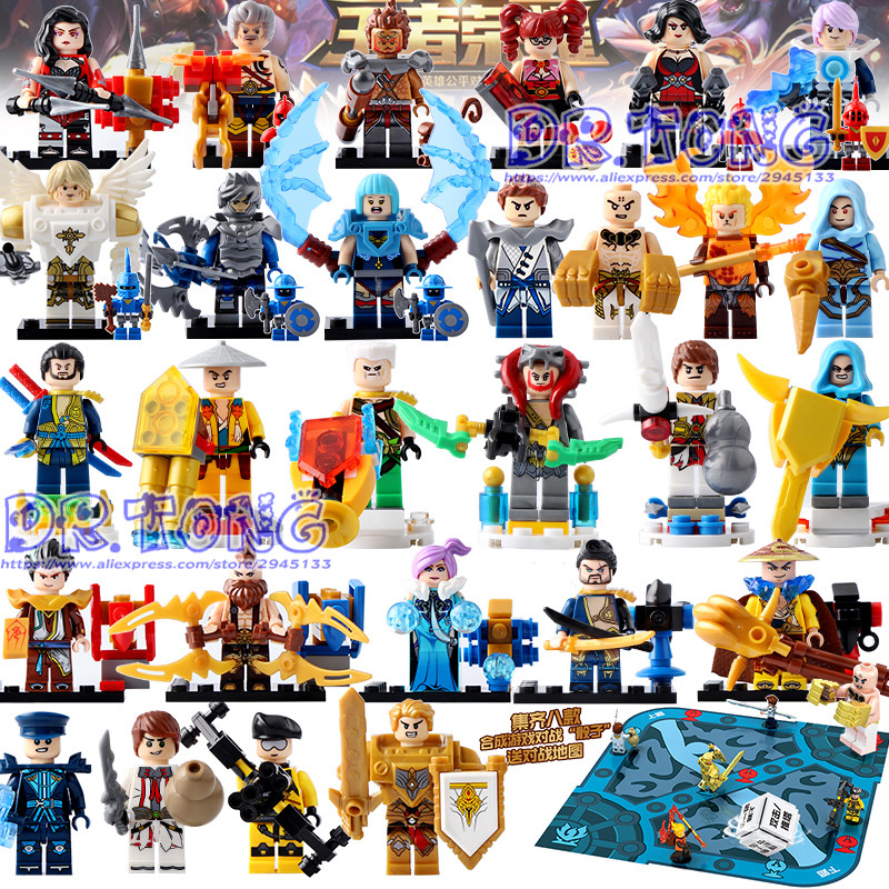 DR.TONG 28PCS King of Glory Enlighten Assemble One of China Romance the Three Kingdoms King Knight Heroes Building Blocks Toys a knight of the seven kingdoms