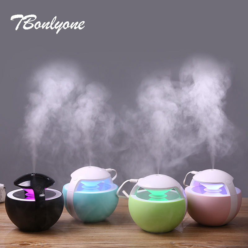 TBonlyone 450ML Air Humidifier for Home Water Soluble Oil Aroma Diffuser with Night Light Air Ultrasonic Diffuser Humidifier ivyshion 1pc arotrerapy humidifier creative heart fireworks led night light air humidifier seven colors aroma diffuser for home