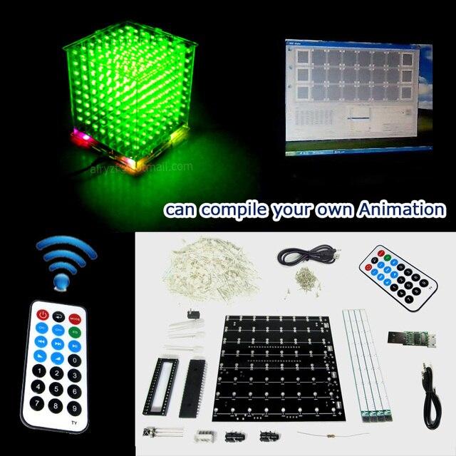 Подарок DIY 3D8S LED мини Свет куб kit с дистанционным зеленый 3D 8 8x8x8 Наборы/Младший, поддержка Arduino