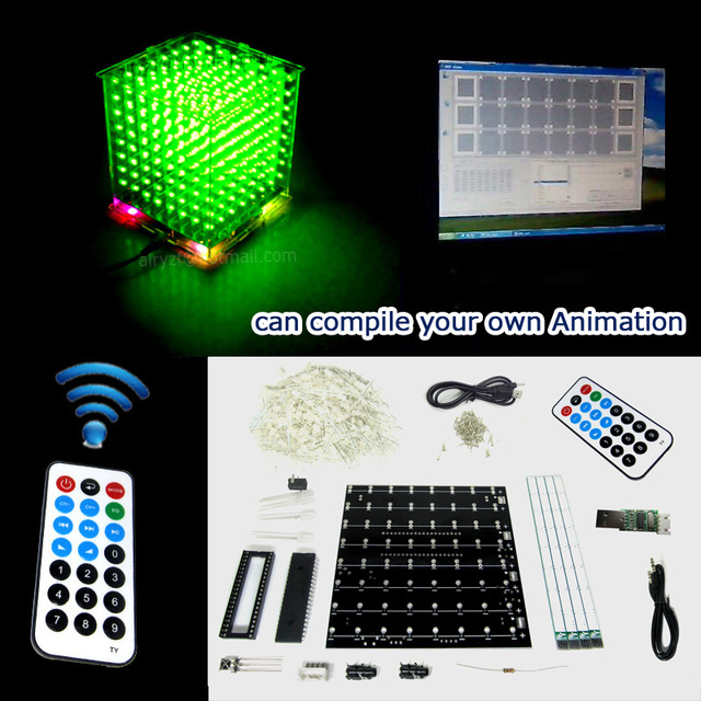 Gift DIY 3D8S LED mini Light cubeeds with remote green 3D 8 8x8x8 Kits/Junior,support  Audrio