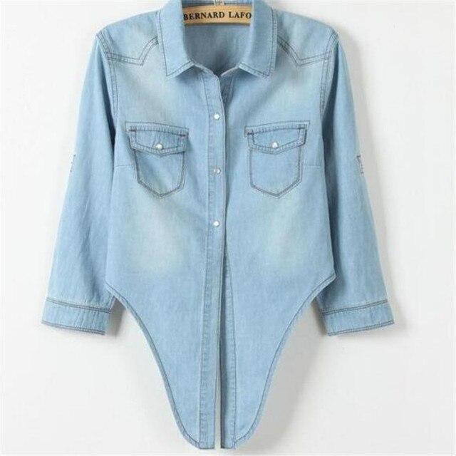 Casual Cropped sleeves Shirt female Denim Shirts women's Fashion Short Blouse Girls Top 2