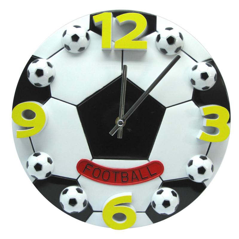 12 Inch Creative Football Soccer Shaped Silent No-Ticking Wall Clock For Living Room Children Bedroom