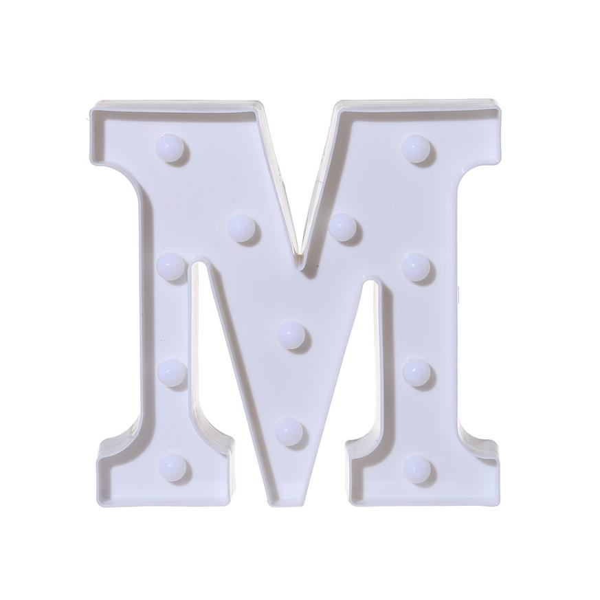 2018 top fashion Alphabet LED Letter Lights Light Up White Plastic Letters Standing Hanging A-M &