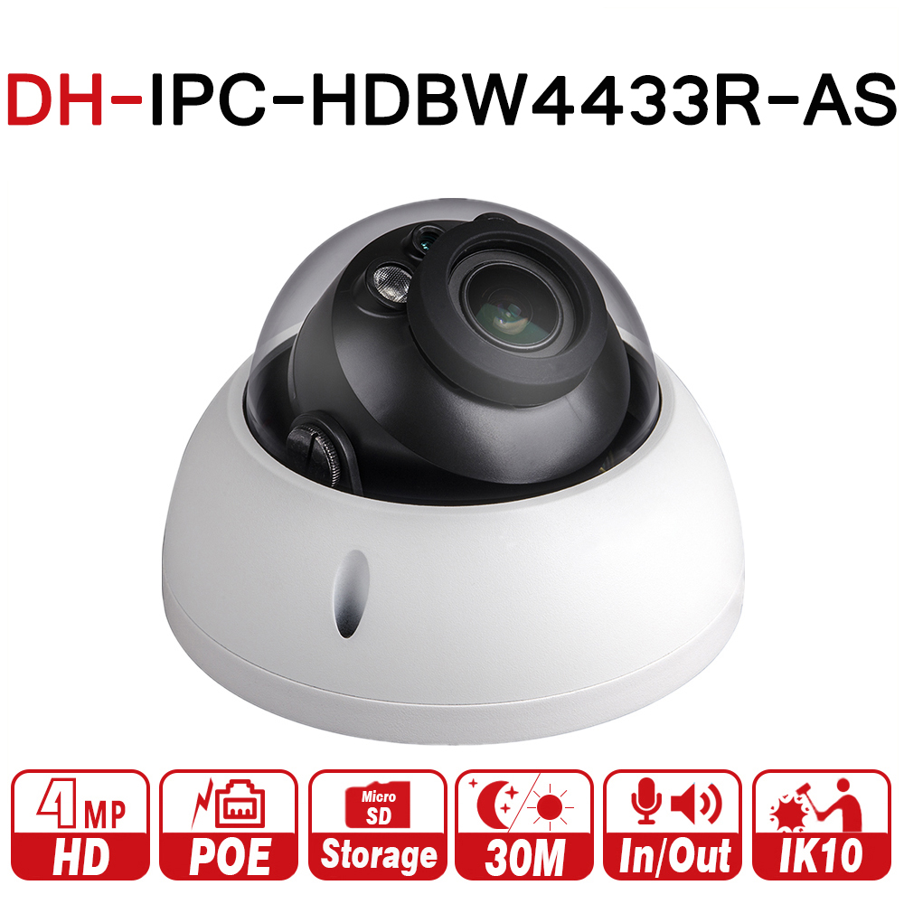 DH IPC-HDBW4433R-AS with logo original 4MP IP Camera Replace IPC-HDBW4431R-AS Support IK10 IP67 TF card PoE CCTV Security Camera dahua 4mp cctv ip camera ipc hdbw4433r as support ik10 ip67 audio and alarm poe camera with ir range 30m