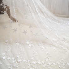 5 yards star floral embroidery soft tulle lace fabric for wedding dress bridal gown baby skirts
