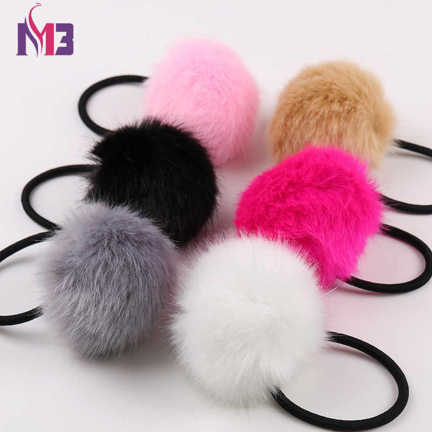 10PCS Rabbit Faux Fur Pompoms Women Hairband Rope Rings Ties Elastic Hair Band Ponytail Holders Girls Headband Hair Accessories