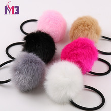 купить 10PCS Artificial Rabbit Fur Ball Elastic Hair Rope Rings Ties Bands Ponytail Holders Girls Hairband Headband Hair Accessories