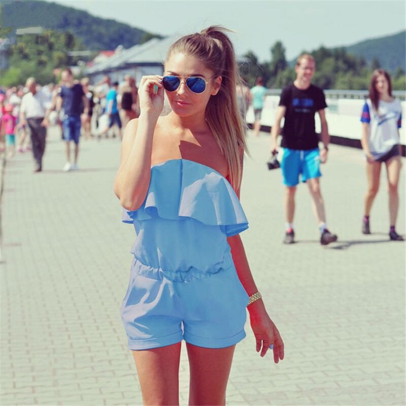 2016 Women Rompers and Jumpsuit Sexy Strapless Fashion Solid Candy Color Summer Shorts Free Shipping A1990