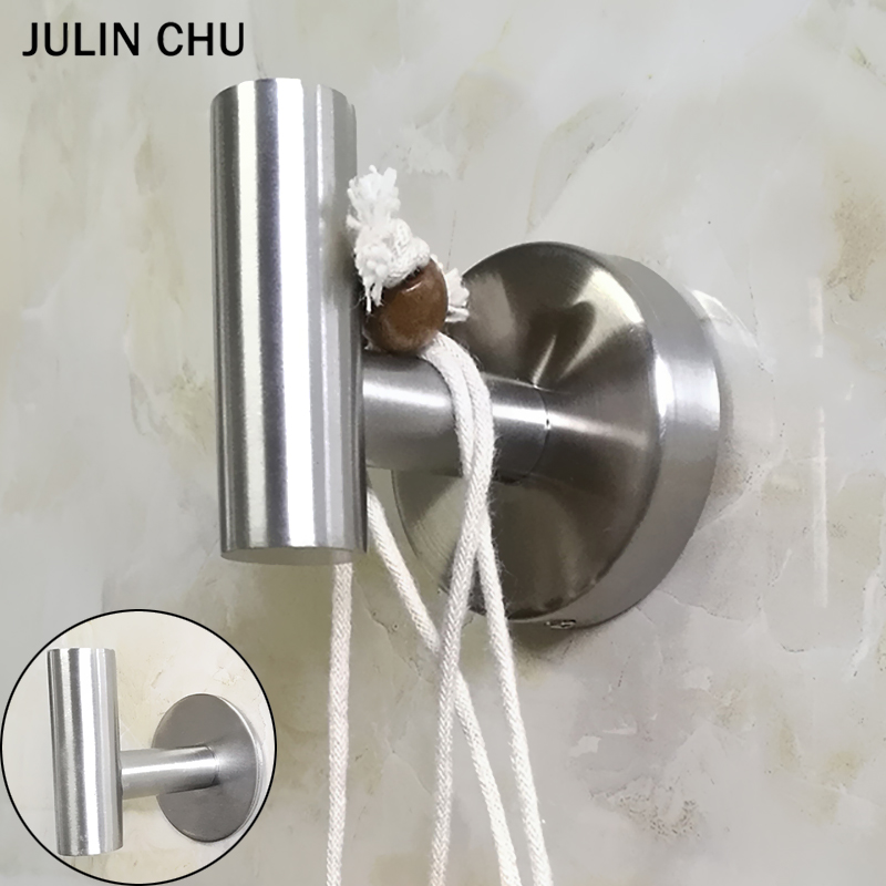 Adhesive Wall Hook 304 Stainless Steel Bathroom Hooks Wall Mounted Clothes Shelf Key Holder Towel Hanger Kitchen Coat Robe Hook