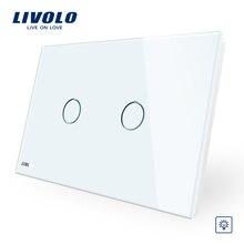 Livolo слоновая кость кристалл стеклянная панель, AU/US стандартный настенный выключатель, 2 банды, диммер сенсорный домашний настенный светильник, тусклый светильник s