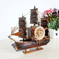 Clockwork Style Sailing Boat Wooden Music Box Angles Play The Violin Children Kids Room Decoration Birthday