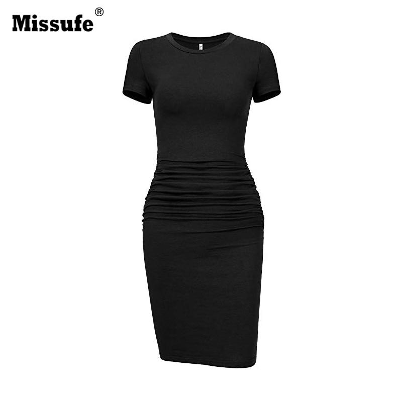Missufe Black Women's Bandage Dress Short Sleeve Pencil Ruched Casual Sundress Sheath Bodycon T Shirt Dress O Neck Vestidos