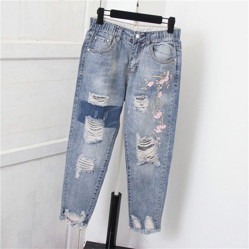 Женские джинсы с дырками и высокой талией, 5XL, женские джинсы из денима, шаровары, повседневные уличные джинсы большого размера для мам Q1382