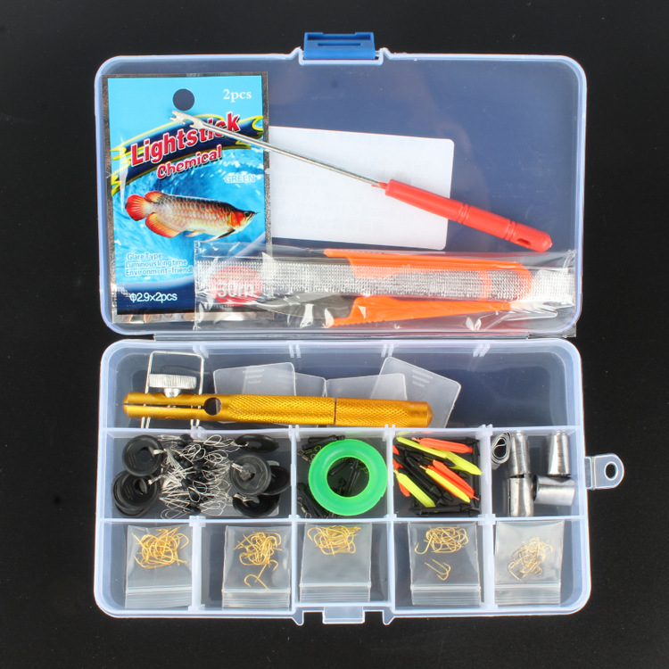 Fishing Accessory Set Include 100Pcs Barbed hook/Floating seat/Hook removing Luminous stick Rayfrog Fishinghook Set