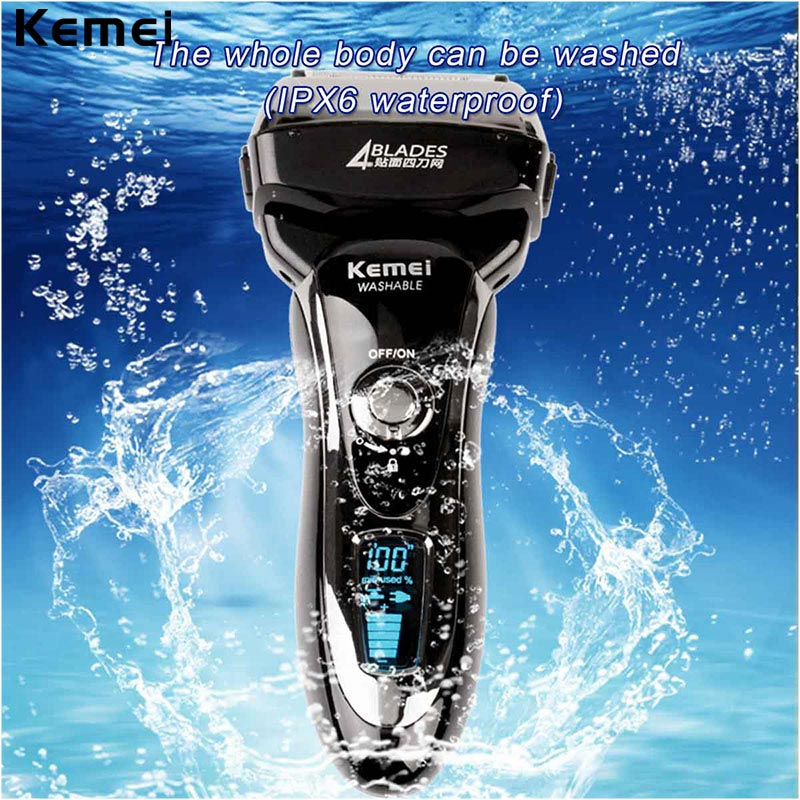 Kemei Waterproof Electric Shaver with Four Blades Rechargeable Shaver with LCD Display Electric Razer for Men Trimmer queenme waterproof five blades wet dry electric shaver for men with folding charging base rechargeable washable face beard