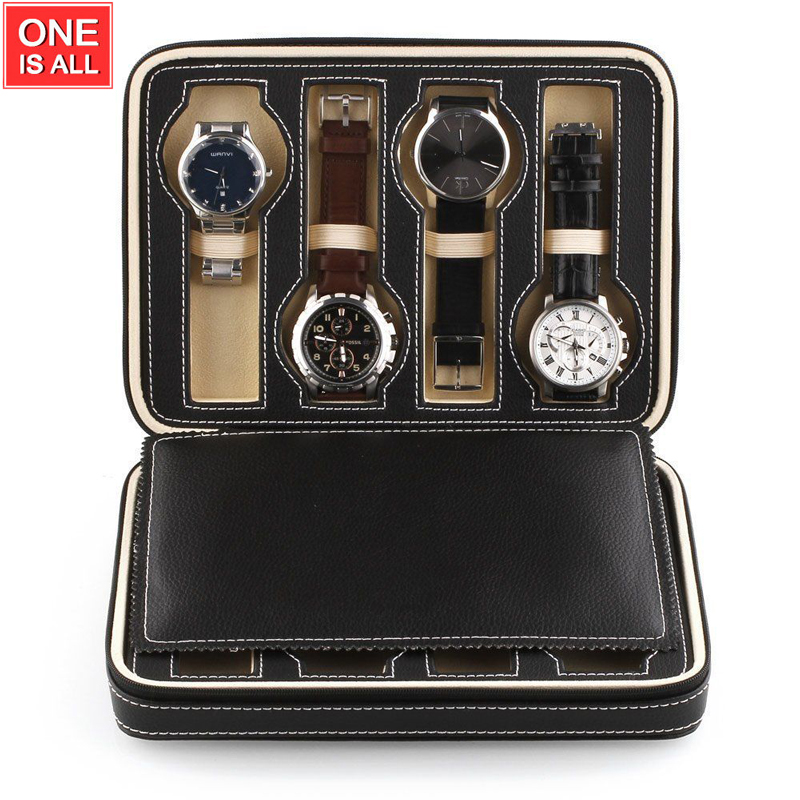 8 Gitter ure Display Opbevaringsboks Case Bakkeur Opbevaring Opbevaring Skuffer Lynlås Travel Watch Collector Brown