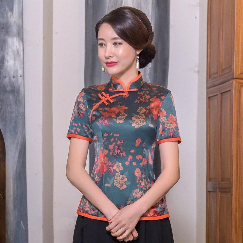 Été nouveau col Mandarin Vintage chinois femmes à la main bouton Blouse chemise Slim nouveauté fleur vêtements grande taille 3XL 4XL