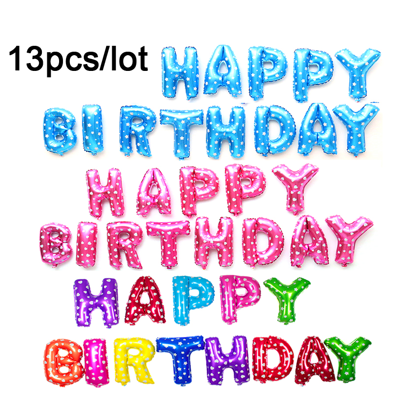 13pcs/lot foil BALLOONS Silver Gold Children balloon letters Happy Birthday ball