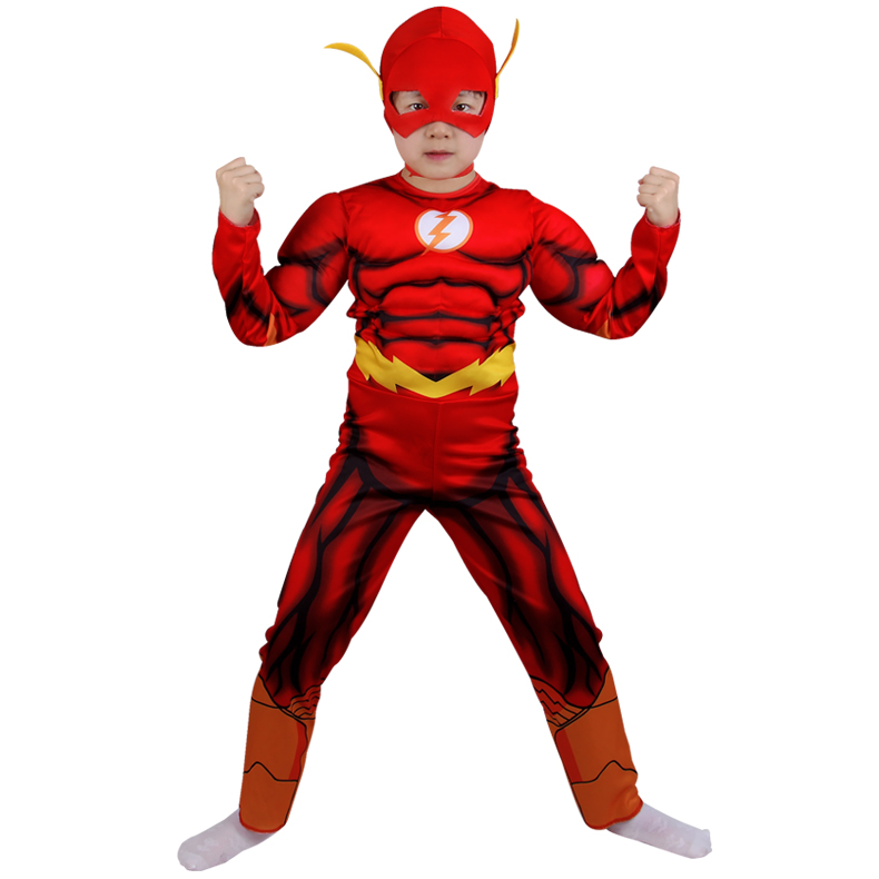 Halloween Muscle Superhero The Flash Cosplay Costume for Kids Play Dress Comic Carnival Costume for Kids Boys Clothes with Mask