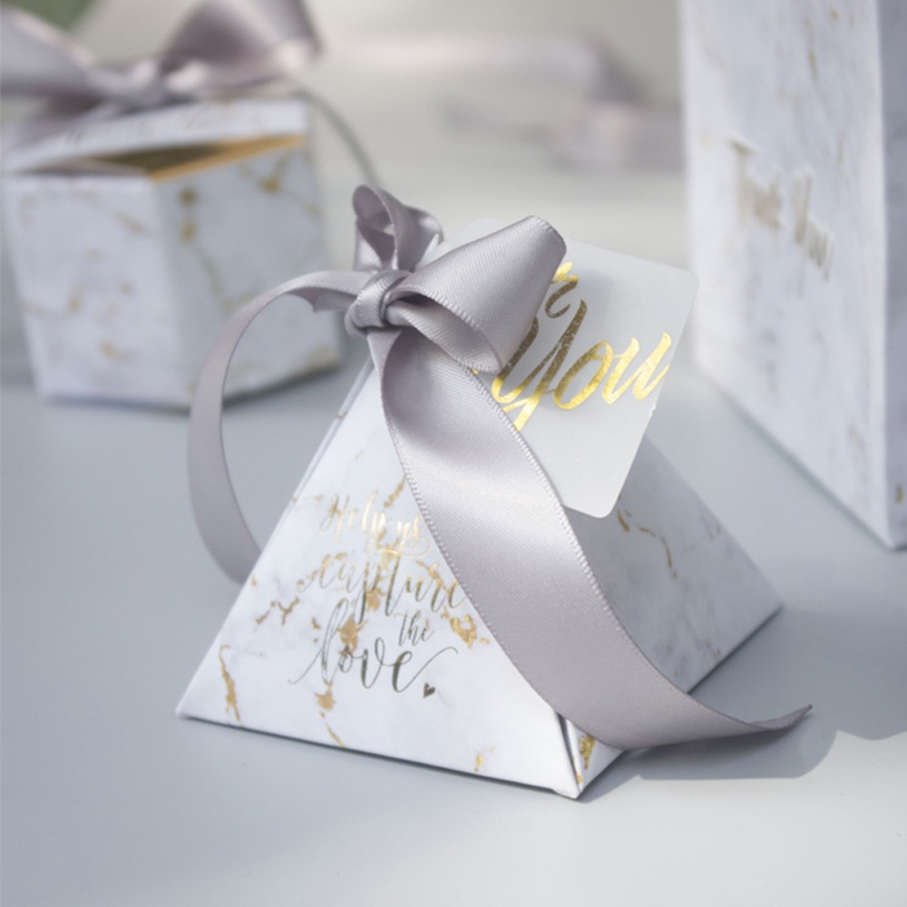 Image 2 - YOURANWISH 50pcs/Lot Creative Marbling style Candy Boxes Pyramid Wedding Favors Party Supplies Baby Shower thanks Gift Box-in Gift Bags & Wrapping Supplies from Home & Garden