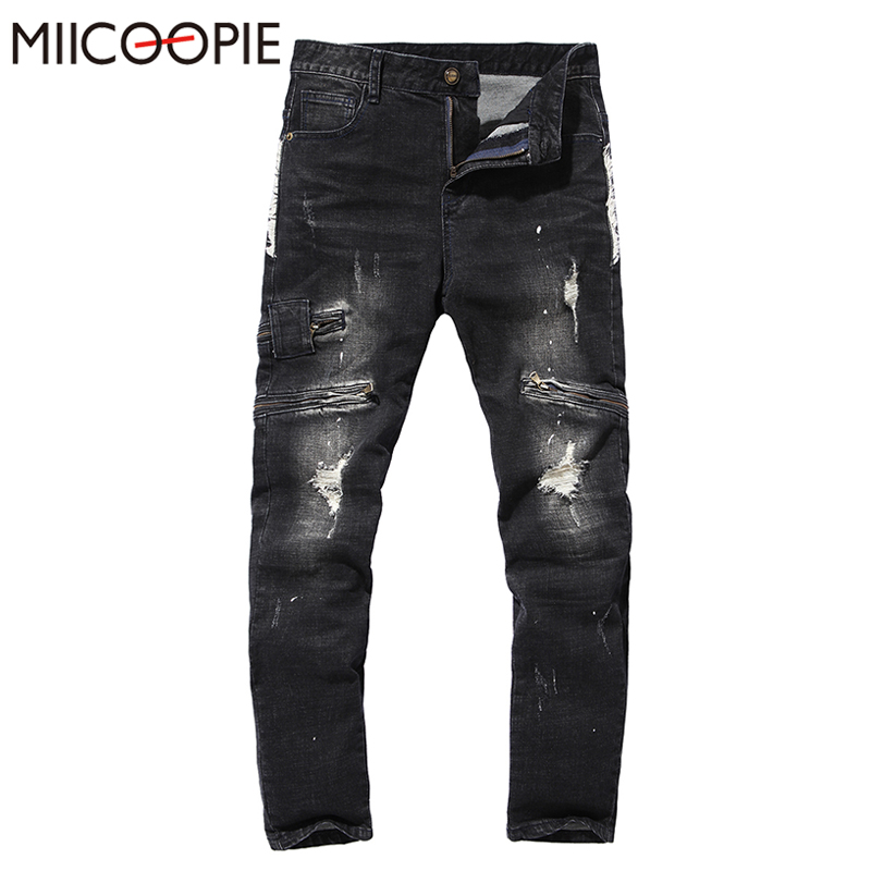 High Quality Jeans Men 2017 New Fashion Holes Denim Pants Hip Hop Skinny Rock Ripped Jeans Homme Casual Cotton Trousers Male hot sale new mens jeans famous brand ripped biker jeans men high quality elastic denim baggy pants skinny hip hop jeans homme