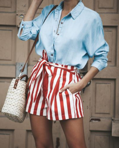 Summer Women Casual Shorts 2020 New Arrival Stylish Loose Straps Sashes Shorts Bow Striped Shorts Beach High Waist Short Trouser