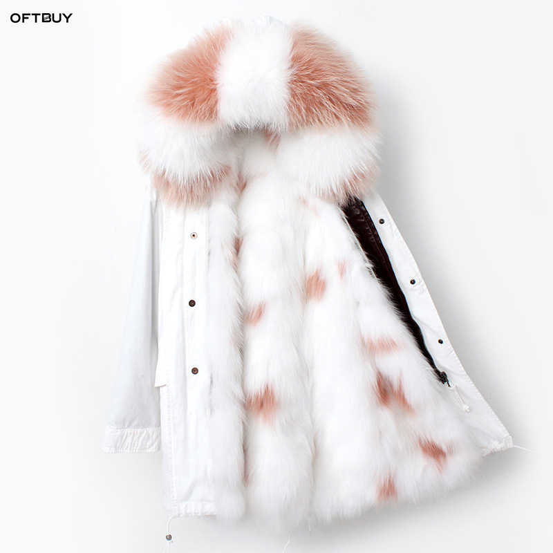 OFTBUY 2019 White Long Parka Real Raccoon Fur Coat Hooded Winter Jacket Women Natural Fox Fur Liner Outwear News Ins Fashion