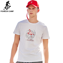 Pioneer Camp MenCasual Round Neck Long Sleeve Tops Tee Male White Pink Cotton Flamingo Printed T shirt Mens ADT906161