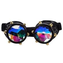 5e426f657 C. F. GOGGLE Lente Colorida Do Estilo Do Vintage Punk Óculos Caleidoscópio  Rainbow Crystal Lentes Óculos Steampunk