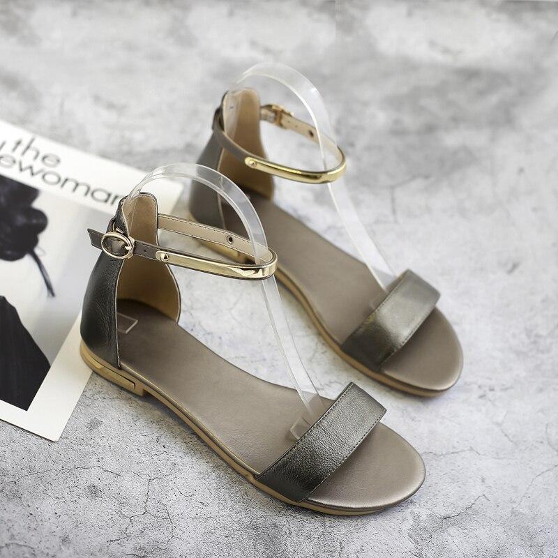 HTB1ePaeeuuSBuNjy1Xcq6AYjFXaM Meotina Genuine Leather Women Sandals Chunky Heels Summer Shoes 2019 Peep Toe Suede Shoes Black Buckle Bling Big Size 33-46 11