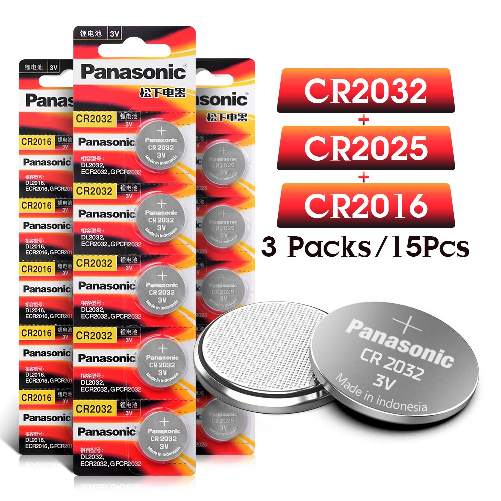 PANASONIC 15Pcs Original Brand Cr2032 Cr 2025 Cr2016 New Battery For 3v Button Cell Coin Batteries For Watch Computer