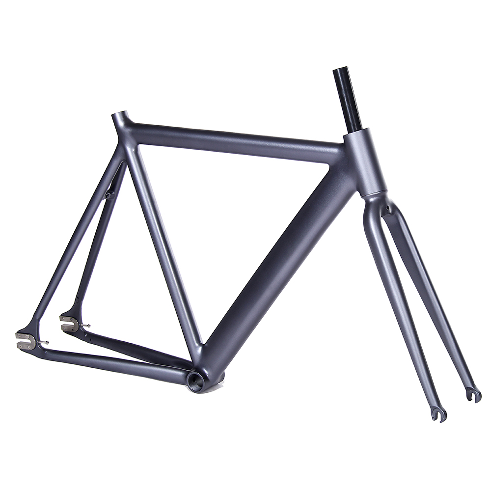 700C bike frame 54cm matte black Smooth Welding Track Bike frame Fixed Gear Bicycle Frame Aluminum Alloy frame steel fork цена и фото