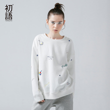 Toyouth 2017 New Arrival Women Autumn Sweatshirt Casual O-Neck Cartoon Pattern Embroidery Sweatshirt Female Loose Pullover