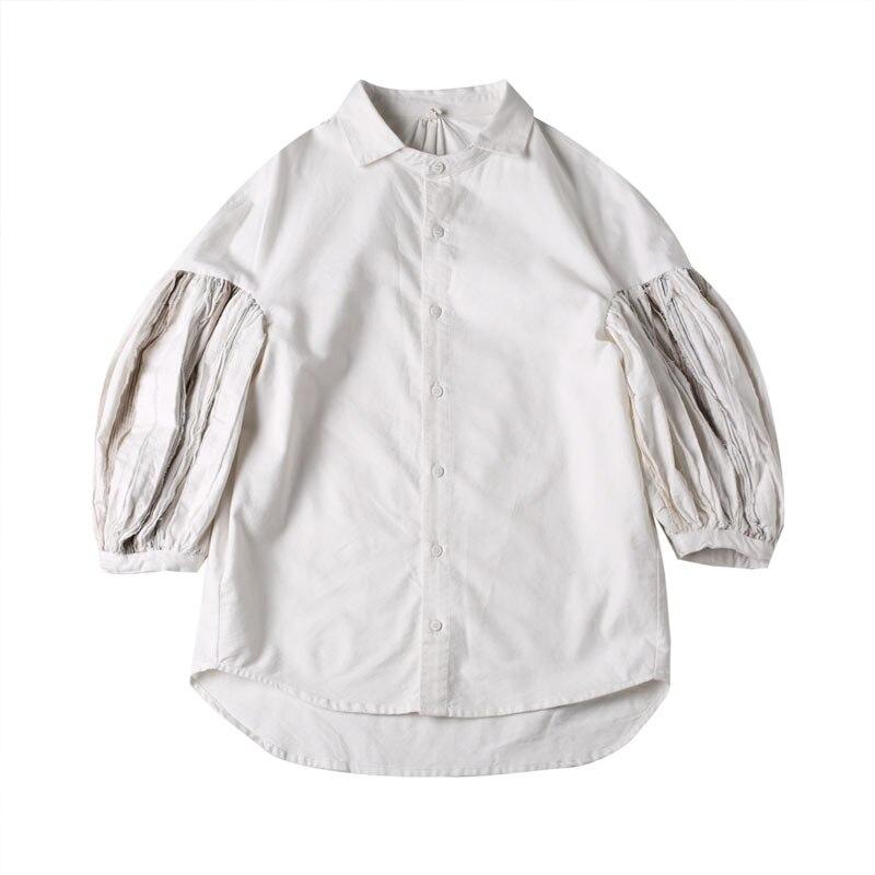 Tres Blusa Navidad Mujeres Manga Suelta Mujer Blanco Realshe Cuello Tops Casual De Cuartos Algodón Las Camisa Primavera 2019 Camisas Y fxwUC0