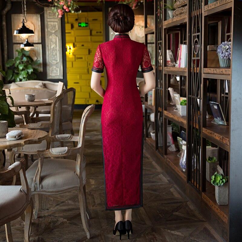 Vestito 23615c Lungo L Xxxl Vestido Taglia Donne rosso Delle Qipao Elegante Nuove Cinese Stile Xxl Sottile Modo Xl Arrivo Il S Cheongsam Del Merletto Nero M Di HqPWwIg