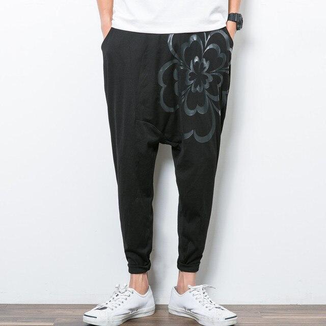 Бренд летом мода мужская шаровары цветок печать багги стиль хип-хоп-трусы человек свободно бегунов мужчины свободного покроя тонкие брюки