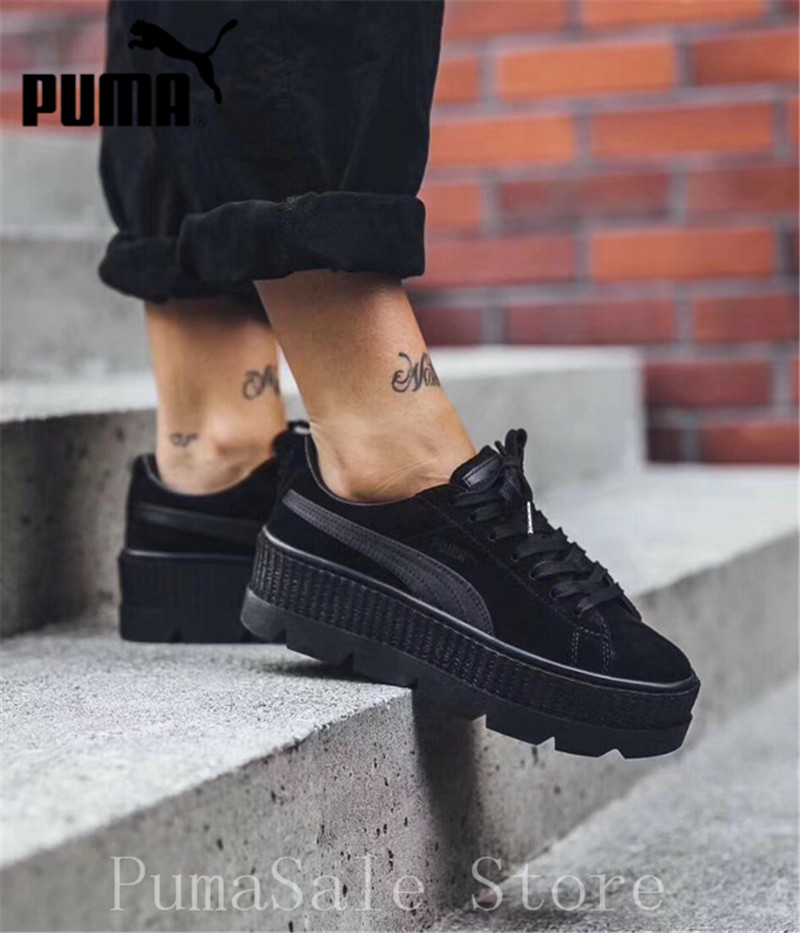 US $56.0 17% OFF|2018 PUMA FENTY Suede Cleated Creeper Wn's Badminton Shoes  Rihanna First Generation Classic Basket Suede Tone Simple Women 36 40-in ...