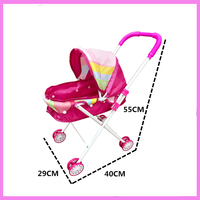 Children S Pretend Play Toy Stroller With Doll Girls Play House Toys Trolley Baby Pushchair Toy