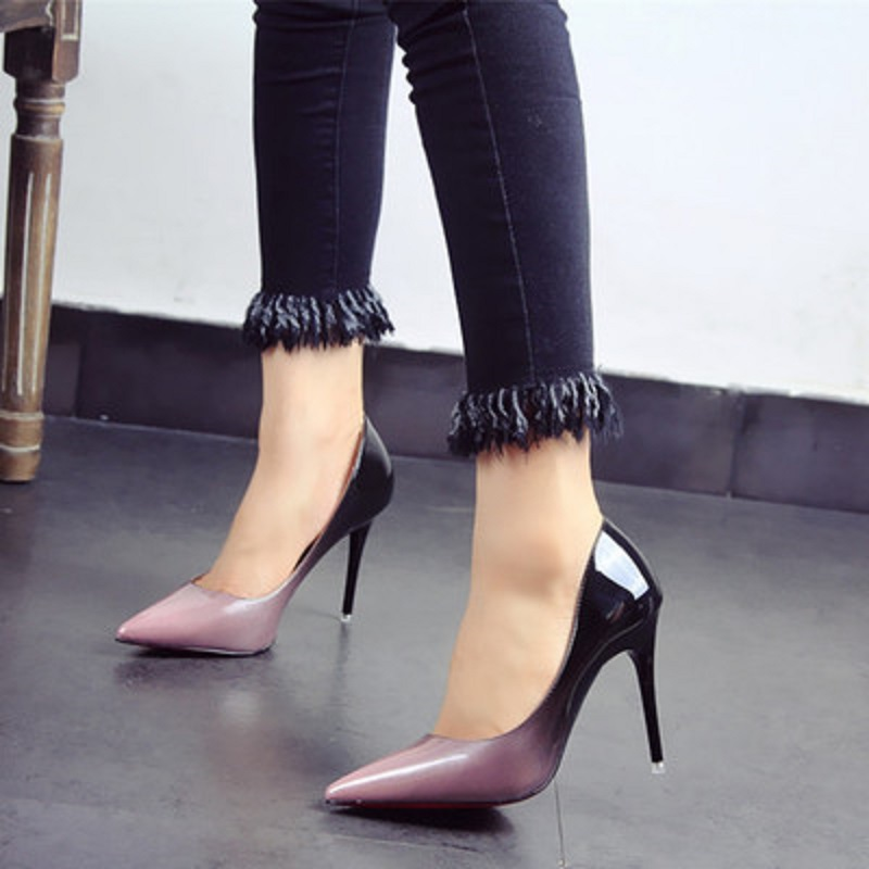 2018 autumn new gradient patent leather pointed high heels fine with sexy shoes single shoes female tide2018 autumn new gradient patent leather pointed high heels fine with sexy shoes single shoes female tide