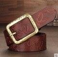Mulheres belts2016 marca 100% de couro genuíno de alta qualidade da moda senhora cinta calça jeans cinto largo preto cintos de designer flor impressão