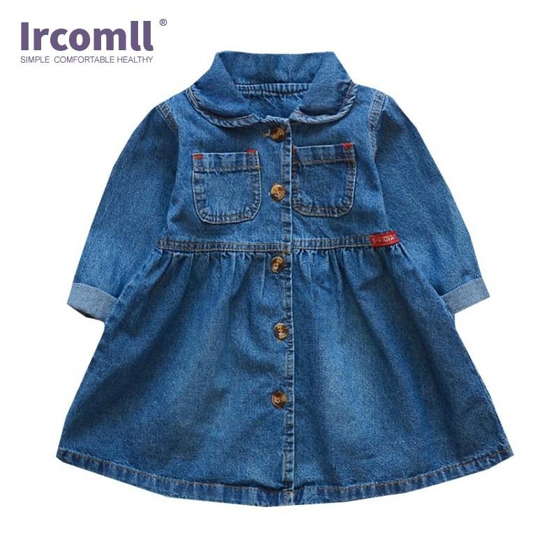 Ircomll Baby Girls Denim Dress 2018 Spring&Autumn Long-sleeved Children Denim Dresses Casual Clothing Kid Toddls Clothes 2-7T