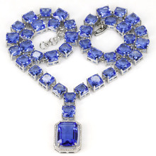 "Gorgeous Rich Blue Violet Tanzanits, CZ  SheCrow Woman's Wedding Silver Necklace 18.5"" 47x18mm"
