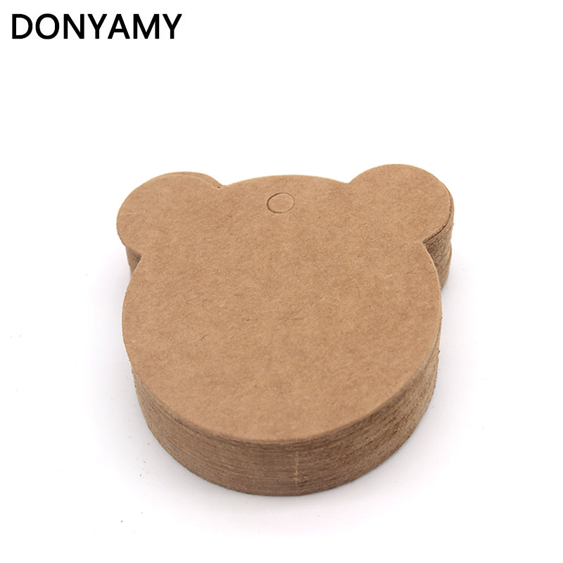 DONYAMY 50PCS 6cm Bear Label Paper Tag Gift Hang Card Price Blank Karft Luggage Wedding Party